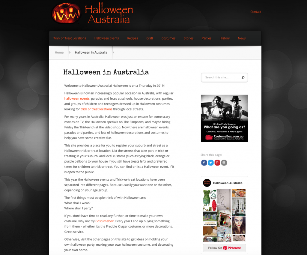 Halloween Australia website